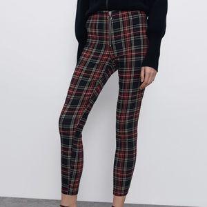 Zara Leggings Pants sz S Scottish Plaid Red NWT